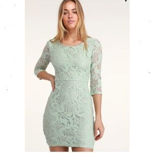 NEW Lulu's Claire Lee Mint Lace Bodycon Dress